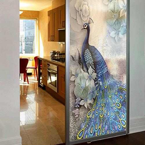 DSAQAO 3D pfau selbst Selbstklebende fensterfolie, Statische klammert Privatsphäre Dekorative Glas-Fenster-Aufkleber für Anti-uv-A 80X120cm(31x47inch)