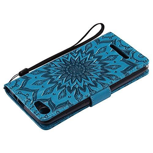 Für Wiko Lenny 2 Fall, Prägen Sonnenblume Magnetische Muster Premium Soft PU Leder Brieftasche Stand Case Cover mit Lanyard & Halter & Card Slots ( Color : Brown ) Blue
