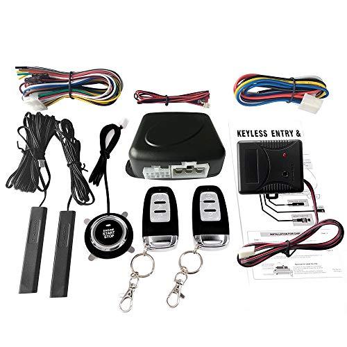 Festnight Auto SUV Schalter Keyless Entry Engine Start Alarm System mit Vibrationssensor Push Button Remote Starter Stop Auto Diebstahlsicherung