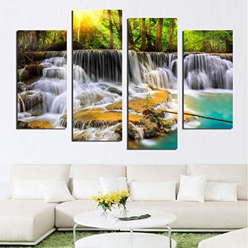 Klassische Wasserfall (WOKCL Leinwanddruck Kalligraphie Leinwand Malerei HD Drucke Wald Wasserfälle 4 Satz Klassische Haus Dekor Für Geschenk Modulare Bild Poster Wandkunst)