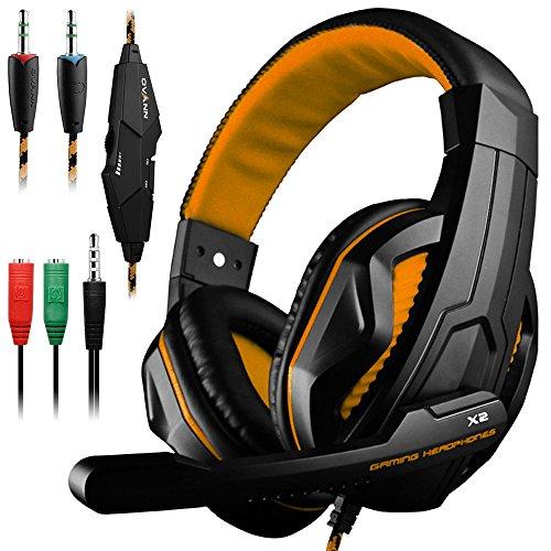 DLAND Gaming Headset, 3,5-mm-Kabel-Bass-Stereo-Geräuschisolation Gaming-Kopfhörer mit Mikrofon für Laptop-Computer, Mobiltelefon, PS4 und so weiter - Lautstärkeregler (Schwarz und Orange) - Mit Kopfhörer Schwarze Mikrofon