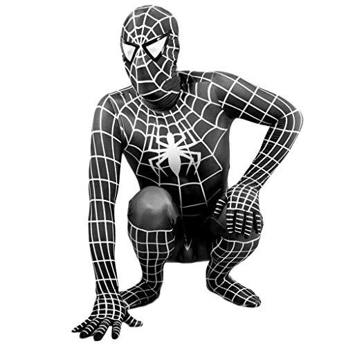 NDHSH Schwarzes außergewöhnliches Spiderman Kostüm für Erwachsene Cosplay Junge Lycra Jumpsuit Outfit Halloween Maskeraden Party Prom Geschenk,Black-XL (Spiderman Outfit Erwachsene)