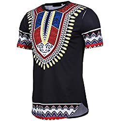 KPILP Mens Tee Shirt Slim Fit Short Sleeve Bohemia Printed Muscle Casual Tops