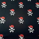 Stoff Baumwolle Meterware Jersey schwarz weiß rot