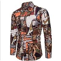 WULIFANG Camisa De Hombre Algodón Camiseta Twist Discoteca Sección Delgada De Lino Camisa Manga Larga Camiseta Impresión Flor Brown M