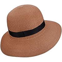 YOPINDO Sombrero de Paja para Mujer UPF 50+ Big Brim Sombrero de Playa Plegable Summer Beach Hat
