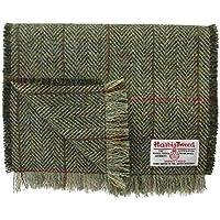 Harris Tweed Pure Wool Luxury Green & Fawn Herringbone Scarf