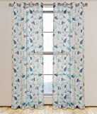 LJ Home Fashions Grommet Curtain Panels, White/Navy Blue/Turquoise - Best Reviews Guide