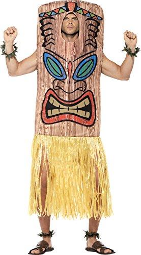 Kostüme Wappenrock (Smiffy's 45539 - Unisex Tiki Totem Kostüm mit Wappenrock, Handgelenk und Knöchel Manschette, One Size,)