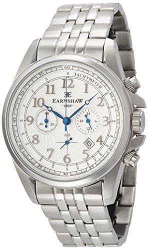 Thomas Earnshaw ES-8028-11 Orologio da Polso Cronografo da Uomo, Cinturino in Acciaio Inossidabile, Colore Argento
