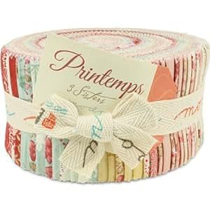 Moda 3 Sisters Printemps Jelly Roll, Set of 40 2.5x44-inch (6.4x112cm) Precut Cotton Fabric Strips