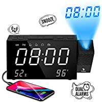 Despertador Proyector, Despertador Reloj Digital de Proyección, con Radio FM, Alarmas Dobles, Función Snooze, 7''LED Pantalla Grande, Volumen +/-, Brillo +/-, Visualizza Tempo/umidità/Temperatura