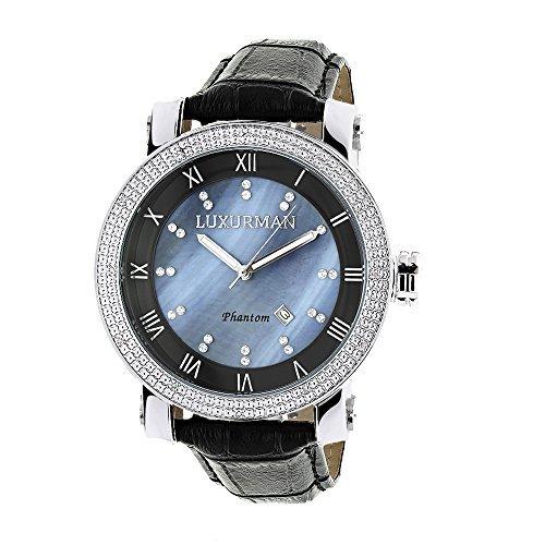 LUXURMAN 2137 - Reloj para hombres, correa de cuero color negro