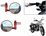 #10: Jaz O Ride {Red} Bike Handle Grip Rear View Mirror Set Of 2- With Keyring For Royal Enfield Classic Chrome