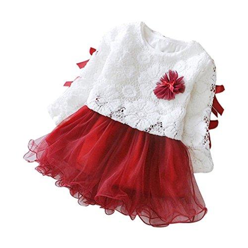 DAY8 robe fille mode vetement bebe fille hiver robe de soirée fille robe princesse fille pull fille printemps pas cher enfant fille ensemble bebe fille haut top + tutu robe (90(12-18 mois), Rouge)