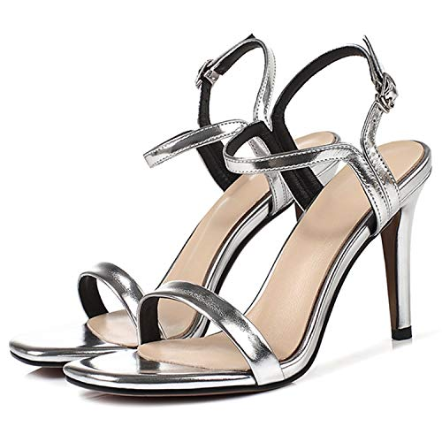 Microfiber Basic Dress High Heels Sandals Women Buckle Strap Sheepskin Woman Sandals 2019 Summer Size 33-40 LY1292 Sliver 4.5