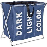 WENKO 3440023100 Wäschesammler Trio Blau   Wäschekorb, Fassungsvermögen 130  L, 100 % Polyester,