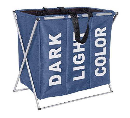 Wenko 3440023100 Wäschesammler Trio Blau - Wäschekorb, Fassungsvermögen 130 L, 100% Polyester, 63 x 57 x 38 cm, Blau