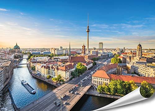 PMP 4life. XXL Poster Berlin-Skyline   140x100cm   hochauflösendes Wand-Bild Berlin-City, Stadt Poster extra groß, XL Fotoposter   Wand-deko Bild Spree Fluss Sonnenuntergang Deutschland
