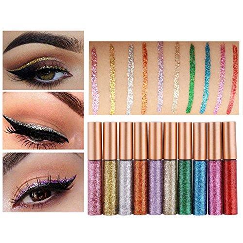 Glitzer Flüssiger Eyeliner Lidschatten, 10 Farben Wasserdicht Schimmer Pigment Metallic Sparkling...