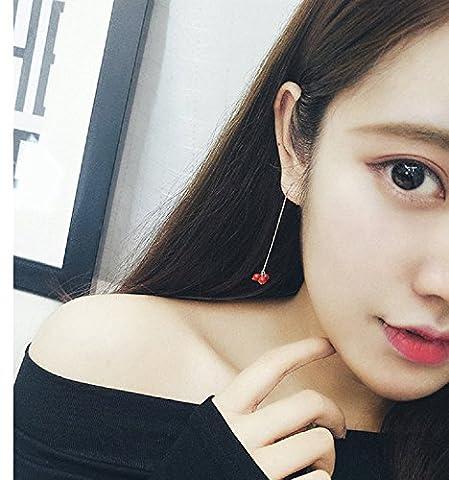 XJoel drei kleine runde Perlen rote Bohnen Ohrringe S925 Sterling Silber Ohr lange Abschnitt Temperament personalisierte Ohrringe