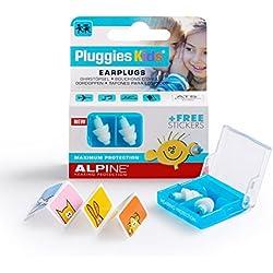 Alpine Pluggies bouchons d'oreilles pour enfants - Pour enfants et petits conduits auditifs - Pour voler et nager - Matériel confortable hypoallergénique - Bouchons réutilisables