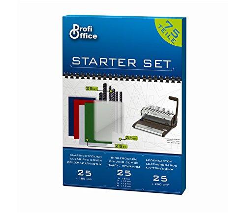 ProfiOffice® 75 Teile Starterset für Plastikbindegerät Binderücken + Deckblätter (61995)