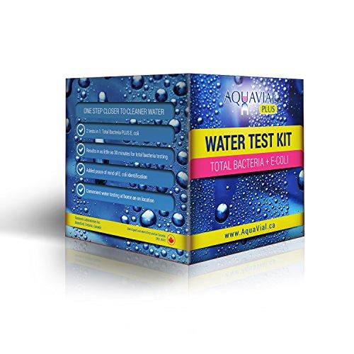 AquaVial Plus Kit di analisi dell'acqua per il rilevamento dei batteri totali, di E. coli, 2 Test in 1, Risultati in 30 minuti