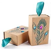Anladia 25 X Pluma de Pavo Real Brillantes Diseños Caja de Regalo Papel de estraza Regalo