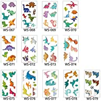 AiTuiTui Dinosaur Temporary Tattoo Stickers for Kids, Over 70pcs Different Designs Waterproof Dinosaur Patterns Tattoos for Children Birthday Gifts Party Decorations Favors Supplies, 12 Sheets
