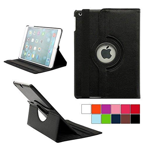 COOVY® Cover für Apple iPad Air II/iPad 6 (Model 2014) Rotation 360° SMART HÜLLE Tasche ETUI CASE Schutz STÄNDER | Farbe schwarz