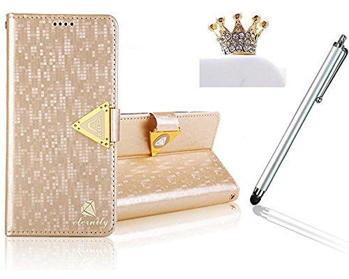 Vandot 1 X Accessoires Pour Smartphone Samsung Galaxy Note 2 N7100 Luxury Matte Prime Similicuir Cuir Coque et PU Wallet Leather Case Retina Display Film Shell Nouveau de Flip Livre Style Fermeture Magnetique Support Coquille Protection Cover Protecteur Couverture Housse Etui + 1 X Gold Couronne Anti-Dust Plug Anti-poussiere Plugs + 1 X Aluminium Stylus Stylet Stylo Tactile Touch Pen - OR Gold Coleur