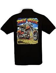 Ethno Designs - Bike Week - Motard Polo Shirt pour Hommes - Old School Rockabilly Vintage Shirt Retro Style - regular fit