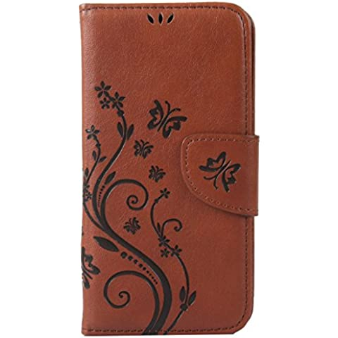 RanRou Apple iPhone 6 6S Leather Funda [Butterfly Flower Pattern],iphone 6s Flip PU Leather Wallet Card Slot Stand Funda Cover For iPhone 6/6S 4.7 inch-brown