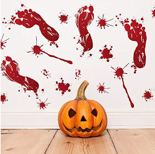 Lvabc Halloween Blut Fußabdrücke Wandaufkleber Glasfenster Wohnzimmer Klassenzimmer Dekoration Aufkleber Urlaub Party Wand-Dekor