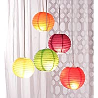 10 inch Garden Hanging Paper Lantern Rice Paper Ball lamp Shade for Diwali Party Decoration Hotels Home 5 pcs 10 inch - Multi Color