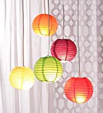 Garden Hanging paper lantern rice paper ball lamp shade for diwali Wedding Party Decoration Hotels home 5 pcs – 12 inch – Multi color