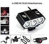 ConsteFire 6000LM CREE 3X XM-L Fahrradlampe Fahrradbeleuchtung Frontlichter mit 4x