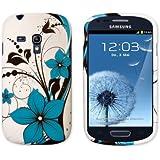kwmobile Hülle TPU Silikon Case für Samsung Galaxy S3 Mini mit Blumenmuster Design - Handy Cover Schutzhülle in Blau Schwarz Weiß