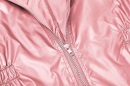 Finejo Damen Windjacke Regenjacke Regenmantel Regenparka Übergangsjacke Funktionsjacke Mit Kapuze TascheWasserdicht Atmungsaktiv Rosa