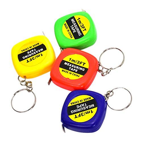 Versenkbare Lineal Maßband Mini Tragbare Pull Herrscher Schlüsselanhänger zufällige Farbe 1mt/3ft 1 stück -
