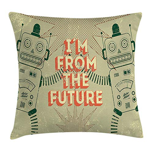 Kids Throw Pillow Cushion Cover, Vintage Futuristic Image of Robots with I\'m from The Future Quote Modern Print Art, Decorative Square Accent Pillow Case, 18 X 18 Inches