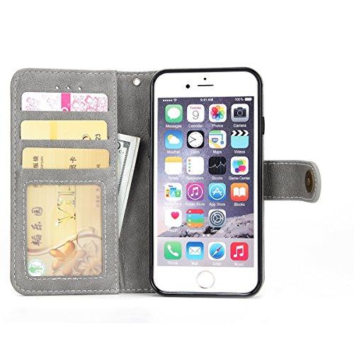 iPhone 6 / iPhone 6s Caso, Lifeepro Resistente ai Graffi Protettivi Bumper ID Carte di Credito Slot Pelle PU Wallet Case Flip Stand Function con Cassa e Fibbia Staccabili for iPhone 6 / iPhone 6s Case Grigio