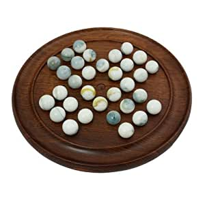 Indian Handmade Wood Marble Solitaire Set - Everything Needed to Play Marbles Solitaire Games