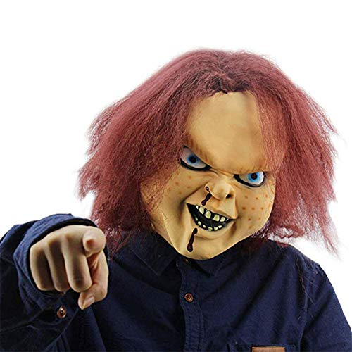 HAWPPWY Halloween Requisiten Scary Doll Weiche Gesichtsmaske Voller Kopf Kostüm Festival Halloween Ungiftig Mit Haar Spiel Latex Cosplay - A Doll's House Spielen Kostüm