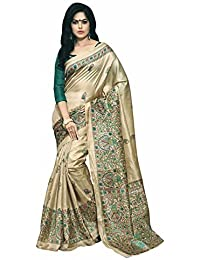 Globalia Creation Women'S Cotton Saree With Blouse Piece(Gol-3844Pushpa_Beige_Free Size)