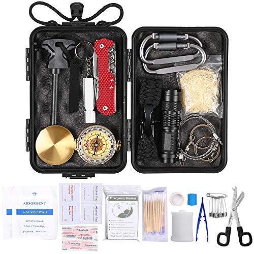 Lixada Survival Kit 23 Arten Notfall Multi-Tools Erste Hilfe Versorgung für Camping Wandern Jagd