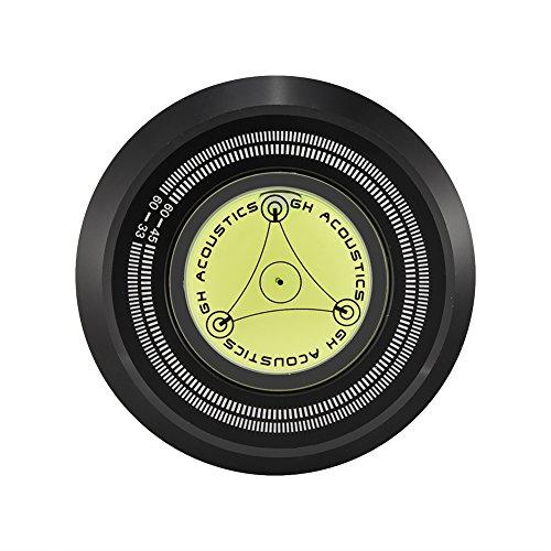 Zerone Abrazadera del estabilizador de grabación de Disco de la Placa giratoria con detección de Velocidad de Nivel de Burbuja de 60 Hz para el Reproductor de Discos de Vinilo LP(Negro)