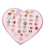 Ouinne 36 Pièces Bagues Petites Filles, Anneaux Réglables Princesse Bijoux Présent avec Boîte en Forme de Coeur pour Un Cadeau à Une Petite Fille