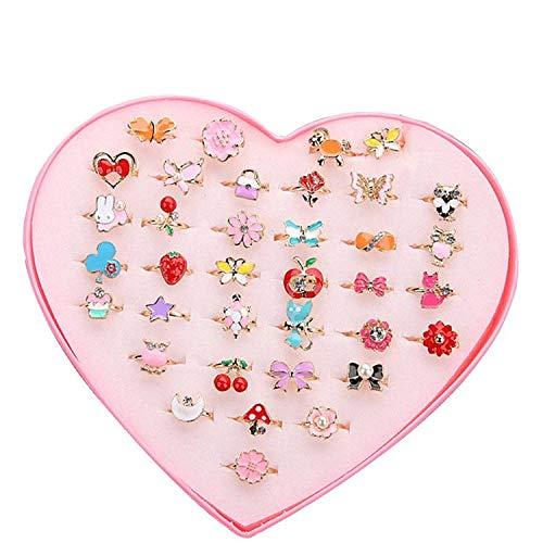 Und Pinata Mädchen Geburtstag Kostüm - Ouinne 36 Stück Kinderringe Mädchen, Einstellbare Ringe funkeln mit Herzform Vitrine für Kinder Spielzeug Geburtstag Party Favors